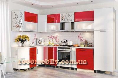 Кухня Хай-Тек белый/красный глянец