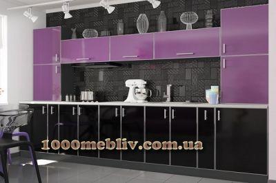 Кухня Mirror Gloss виола/блек глянец
