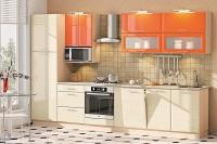 Кухня Хай-Тек оранжевый глянец/кремовый глянец
