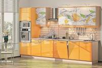 Кухня Хай-Тек лимон глянец с фотопечатью