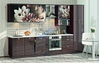 Кухня Хай-Тек шоколад глянец с фотопечатью