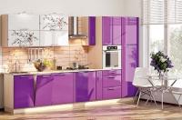 Кухня Хай-Тек белый/фиолет глянец