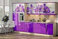 Кухня Хай-Тек сирень глянец с фотопечатью