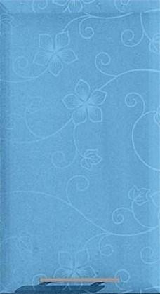 Кухня Хай-Тек красный глянец с фотопечатью - Голубой с цветком перламутр