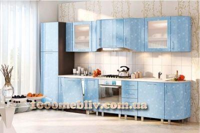 Кухня Хай-Тек голубой глянец перламутр