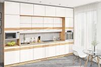 Кухня Хай-Тек белый глянец с фотопечатью