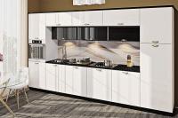 Кухня Хай-Тек белый глянец перламутр