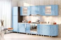 Кухня Хай-Тек голубой глянец