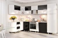 Кухня Хай-Тек белый/черный глянец