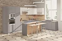 Кухня Хай-Тек Матовая галактика металлик/белый